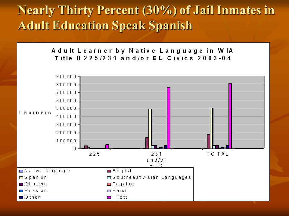 Nearly Thirty Percent (30%) of Jail Inmates in Adult Education Speak Spanish