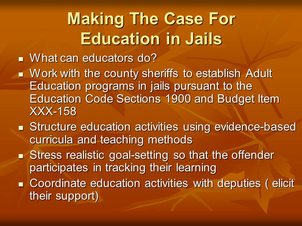 Making The Case For Education in Jails