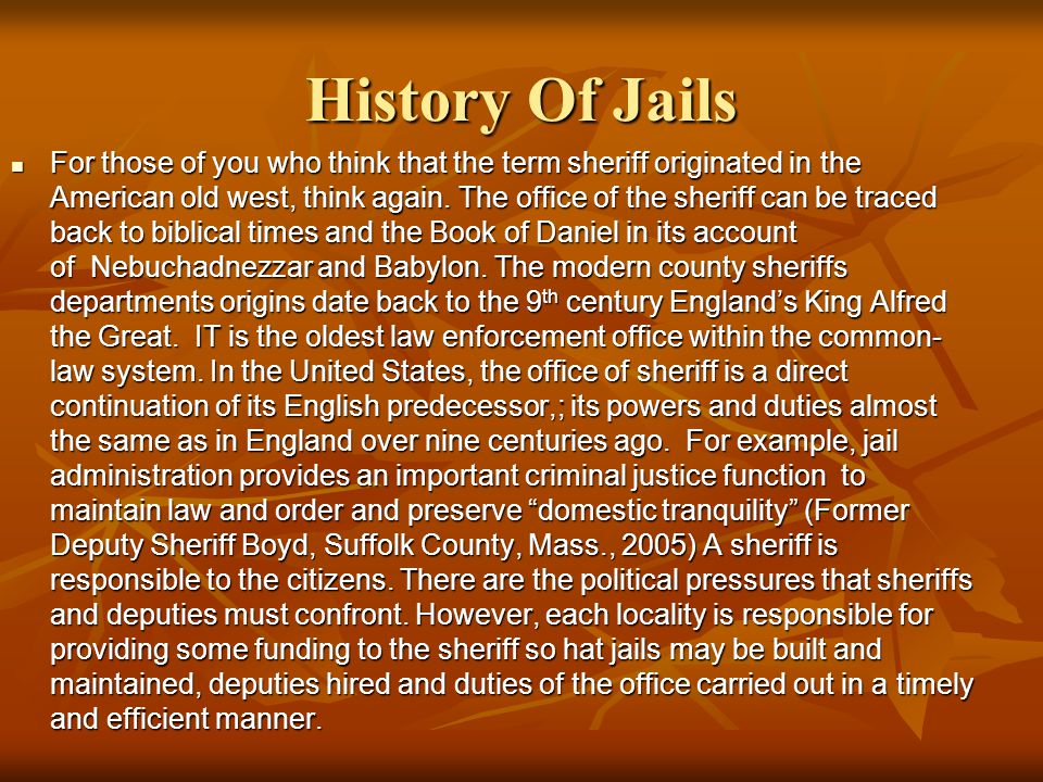 History Of Jails