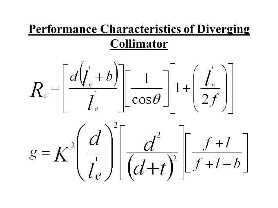 Performance Characteristics of Diverging Collimator