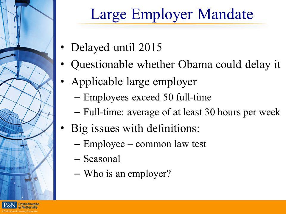 Large Employer Mandate