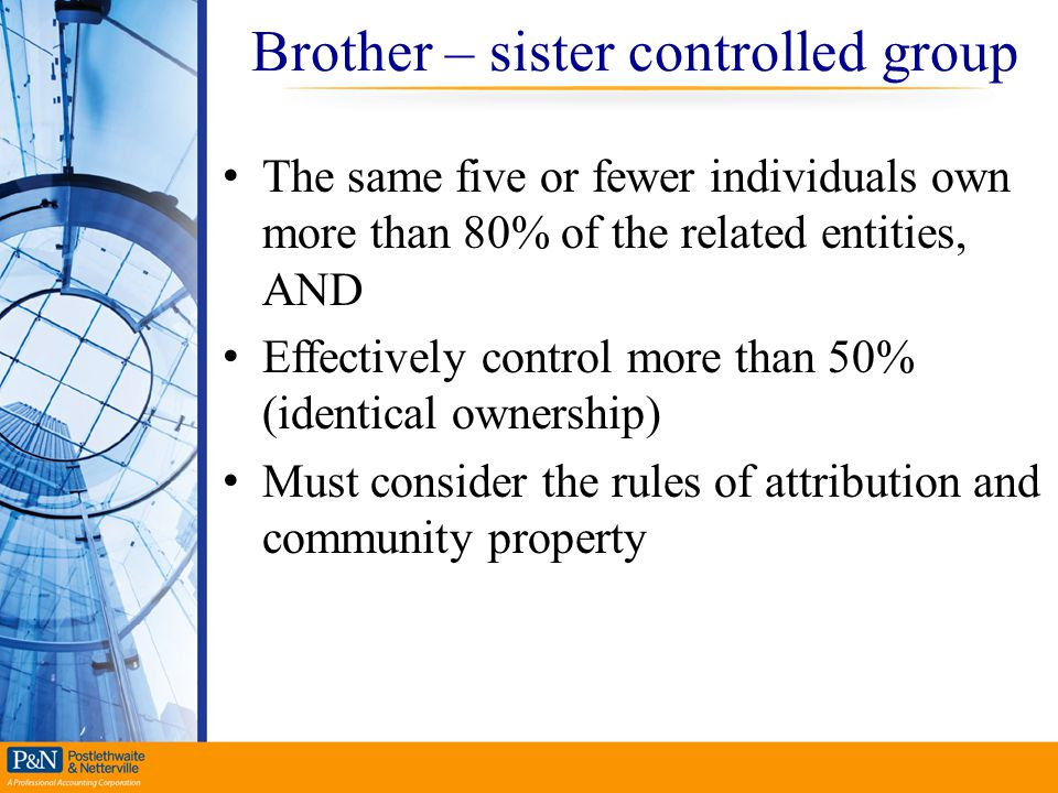 Brother – sister controlled group