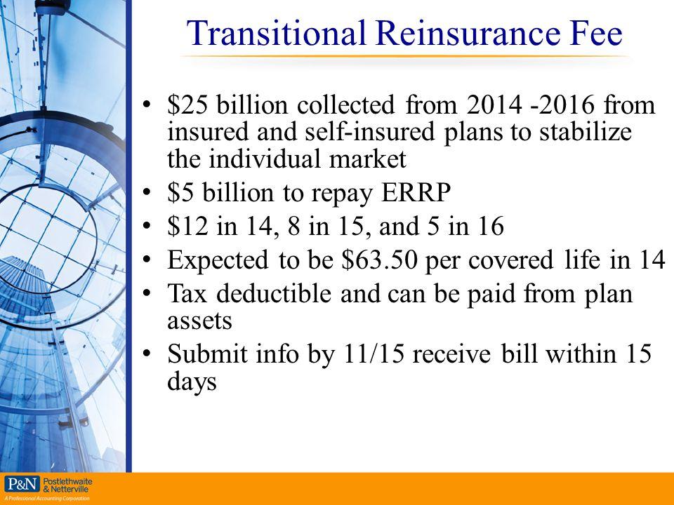 Transitional Reinsurance Fee