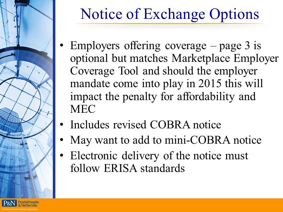 Notice of Exchange Options