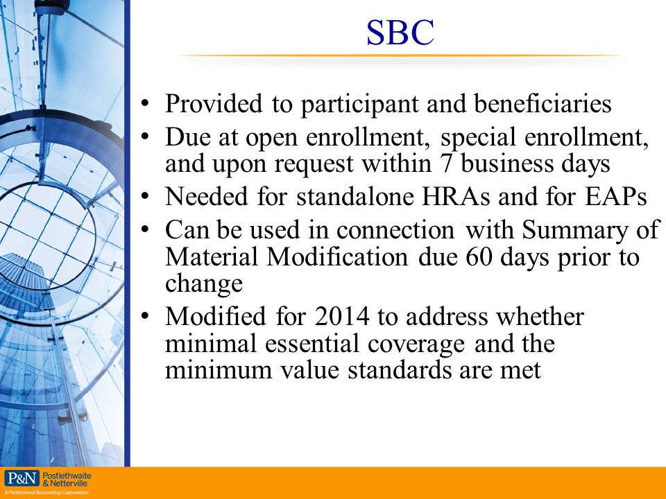 SBC Provided to participant and beneficiaries