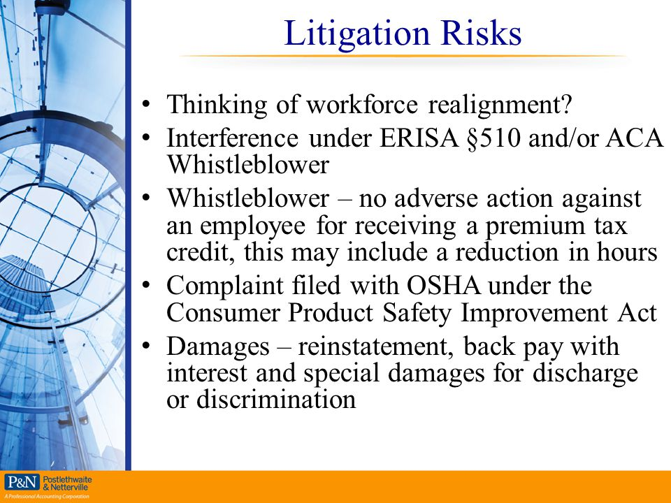 Litigation Risks Thinking of workforce realignment
