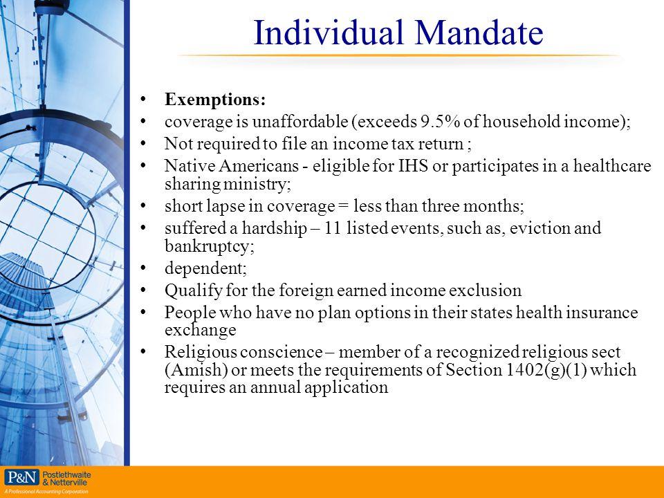 Individual Mandate Exemptions: