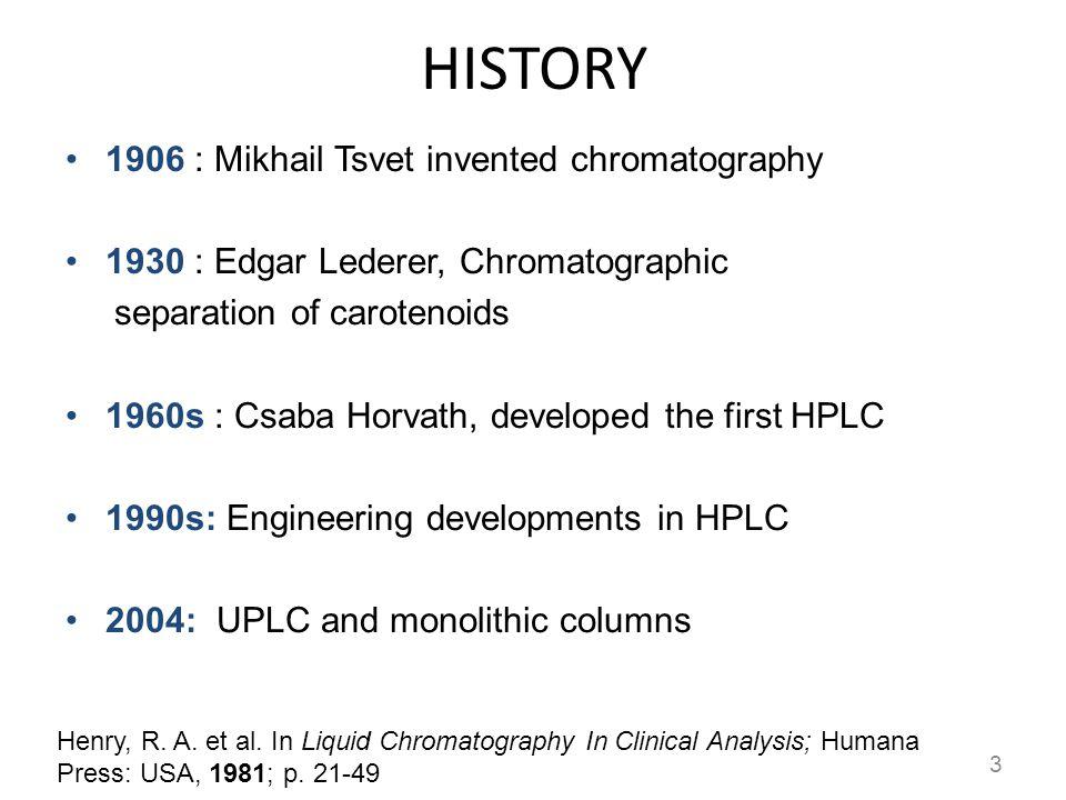 HISTORY 1906 : Mikhail Tsvet invented chromatography