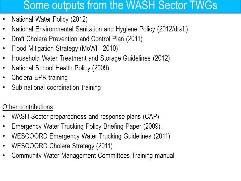 Some outputs from the WASH Sector TWGs