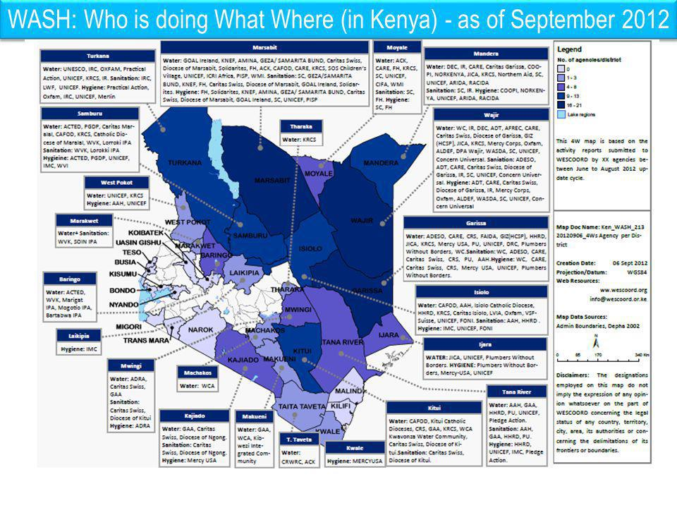 WASH: Who is doing What Where (in Kenya) - as of September 2012