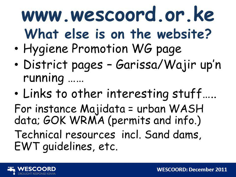 www.wescoord.or.ke What else is on the website