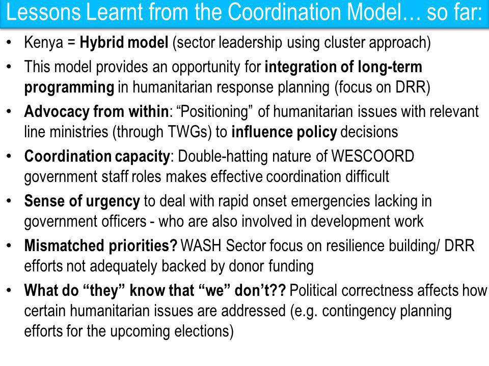 Lessons Learnt from the Coordination Model… so far: