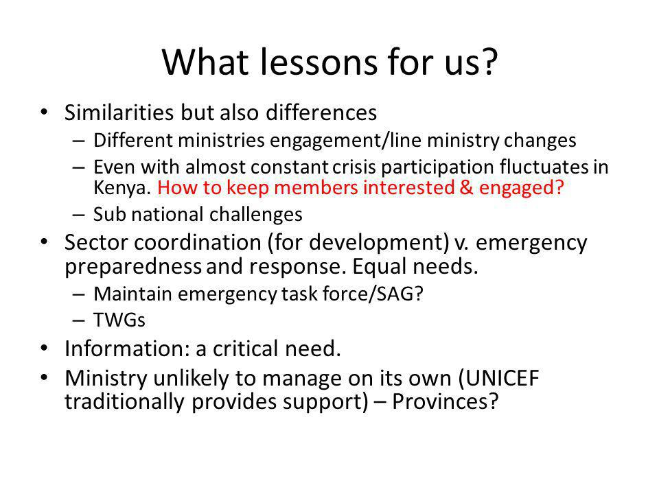 What lessons for us Similarities but also differences