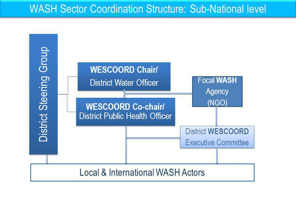 WASH Sector Coordination Structure: Sub-National level