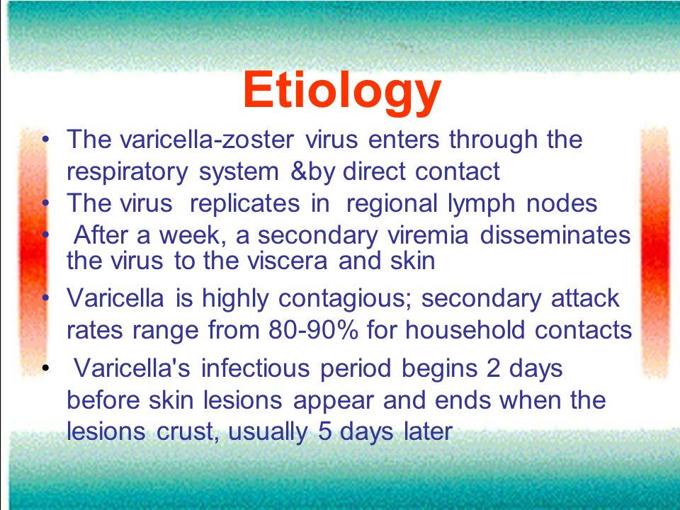 Etiology The varicella-zoster virus enters through the respiratory system &by direct contact. The virus replicates in regional lymph nodes.
