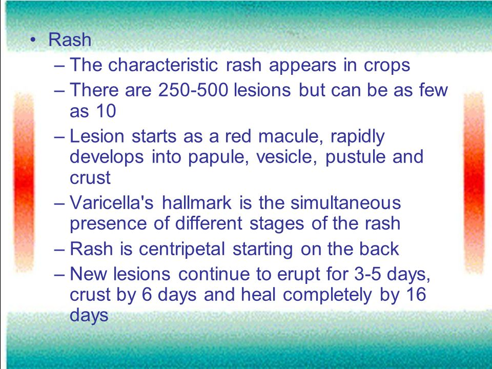 Rash The characteristic rash appears in crops. There are 250-500 lesions but can be as few as 10.