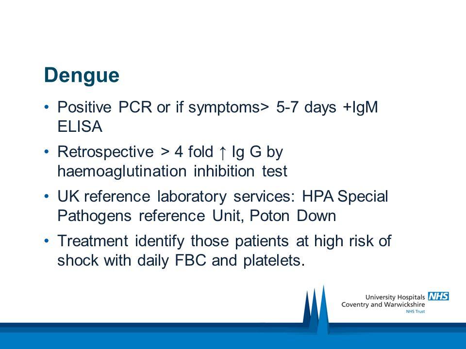 Dengue diagnosis and treatment