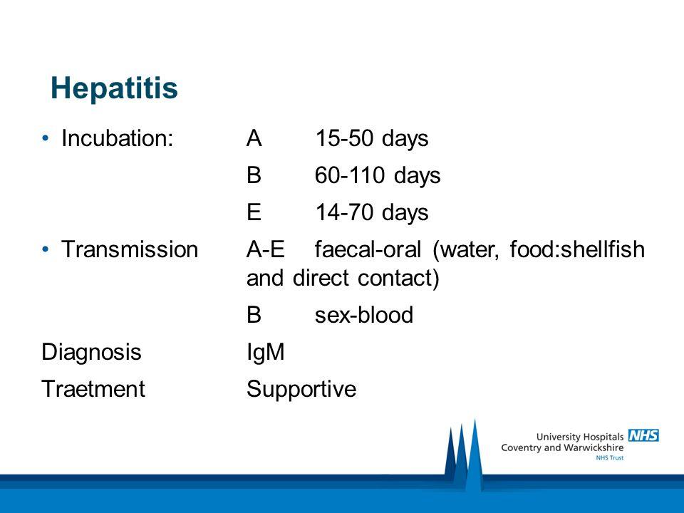 Hepatitis Incubation: A 15-50 days B 60-110 days E 14-70 days