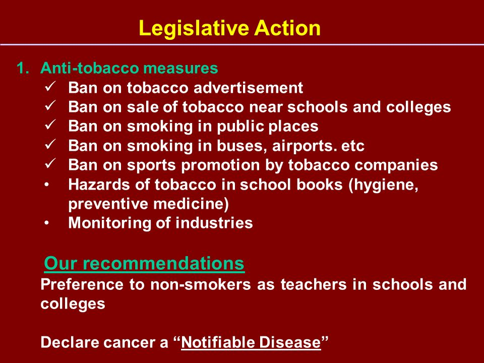 Legislative Action Our recommendations Anti-tobacco measures