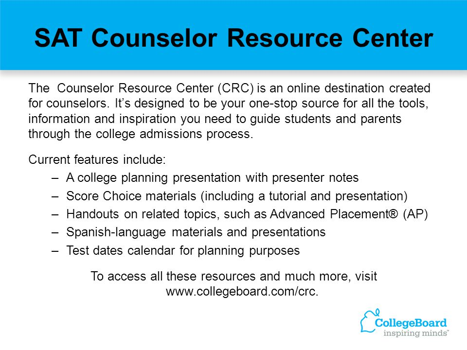 SAT Counselor Resource Center