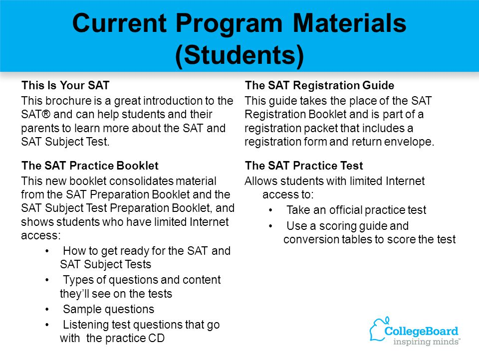 Current Program Materials (Students)