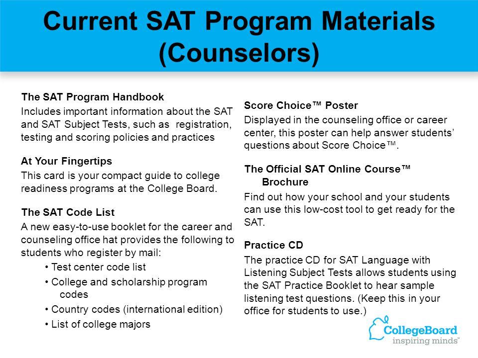 Current SAT Program Materials (Counselors)