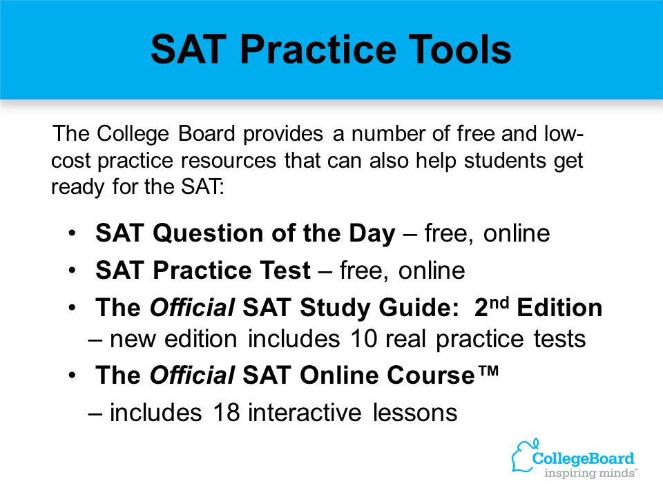 SAT Practice Tools SAT Question of the Day – free, online