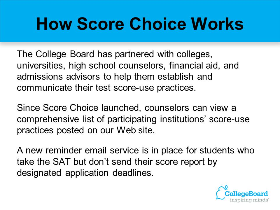 How Score Choice Works