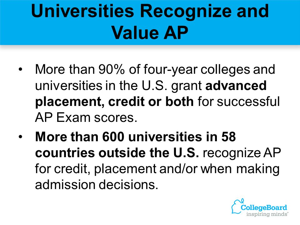 Universities Recognize and Value AP