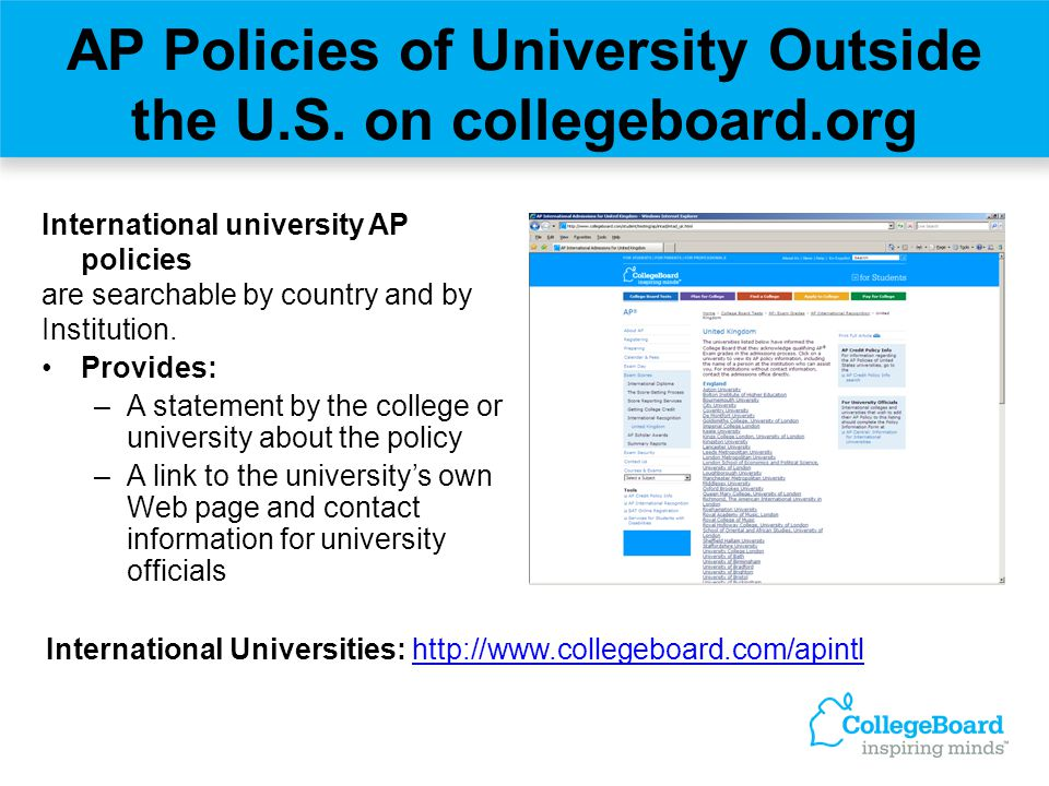 AP Policies of University Outside the U.S. on collegeboard.org