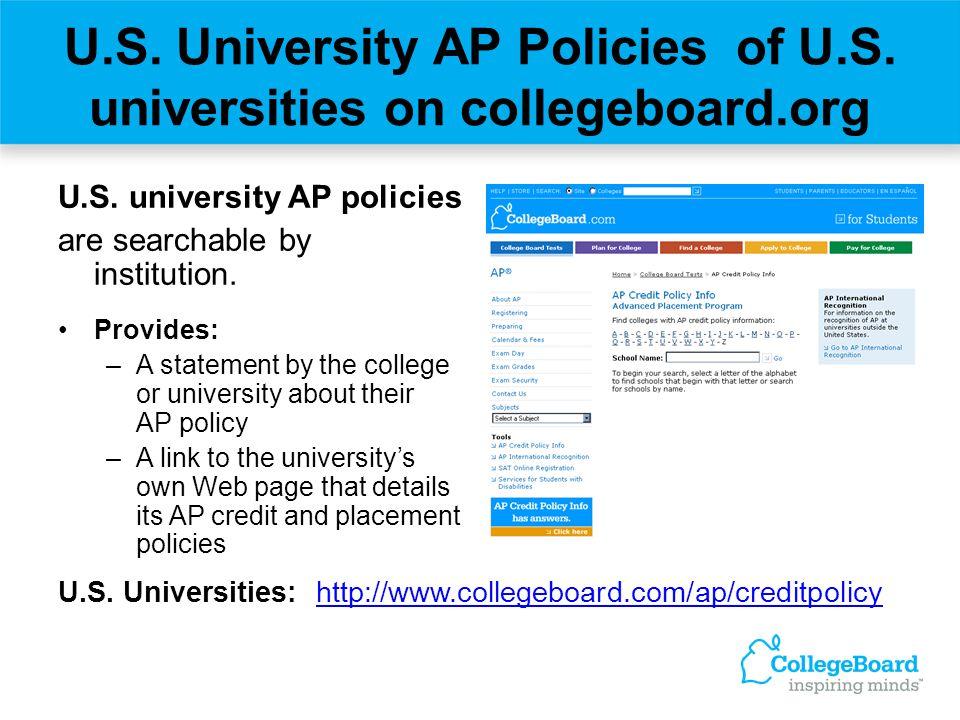 U.S. University AP Policies of U.S. universities on collegeboard.org