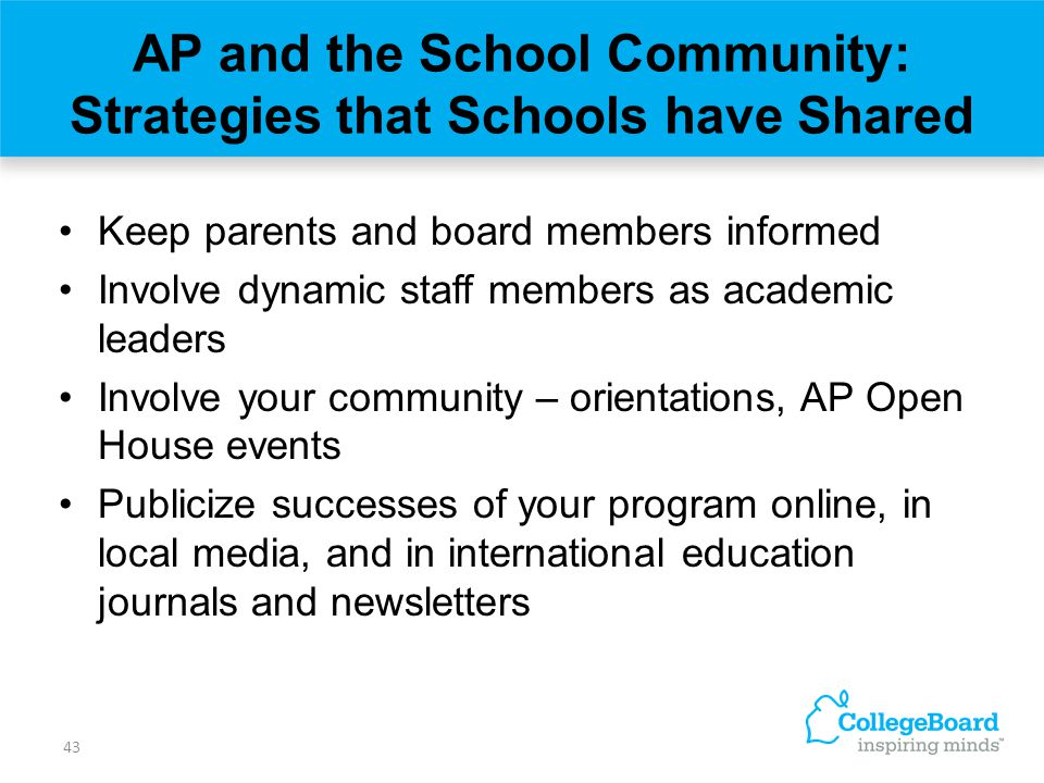 AP and the School Community: Strategies that Schools have Shared