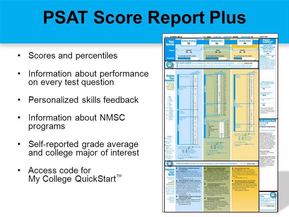 PSAT Score Report Plus Scores and percentiles