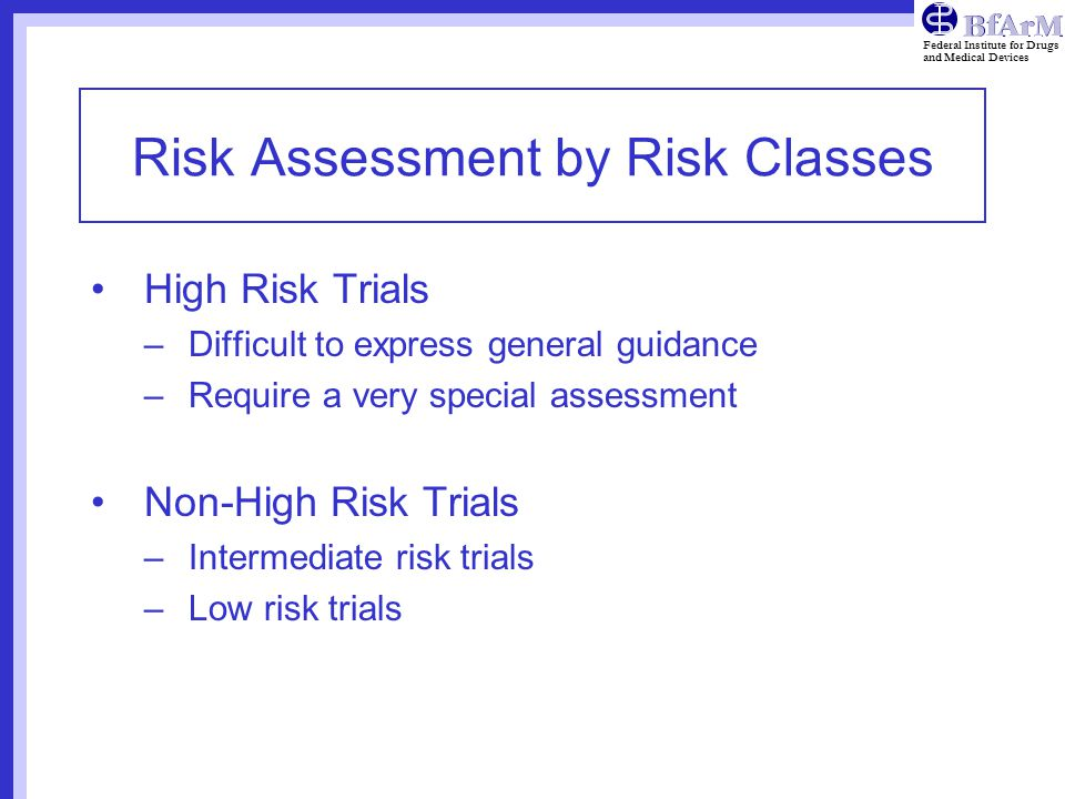 Risk Assessment by Risk Classes