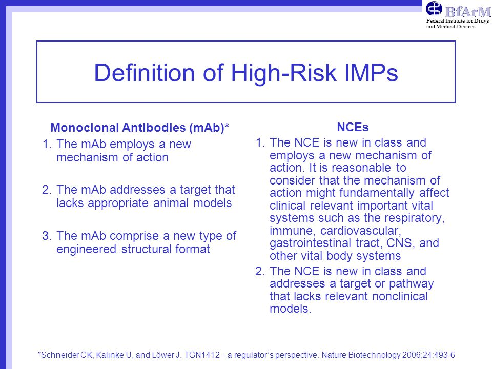 Definition of High-Risk IMPs