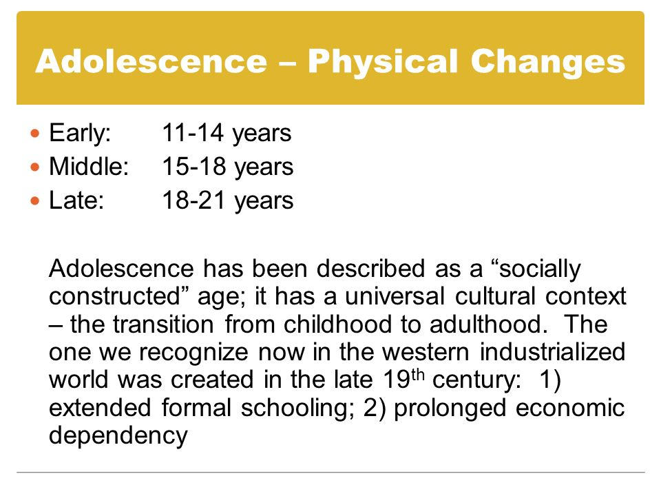Adolescence – Physical Changes