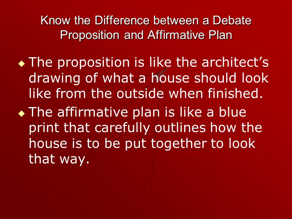 Know the Difference between a Debate Proposition and Affirmative Plan