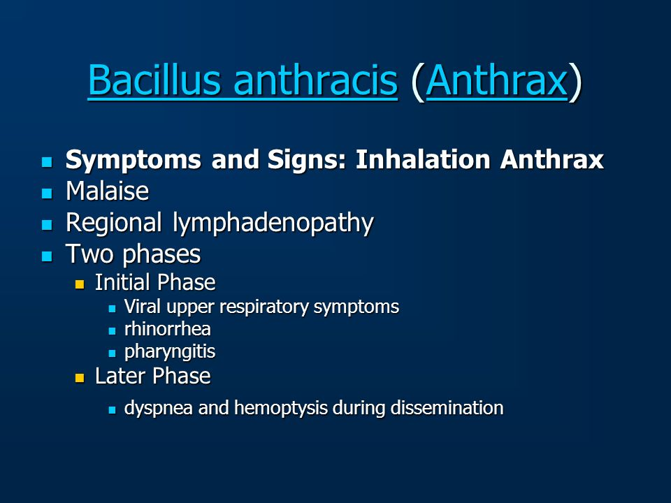 Bacillus anthracis (Anthrax)