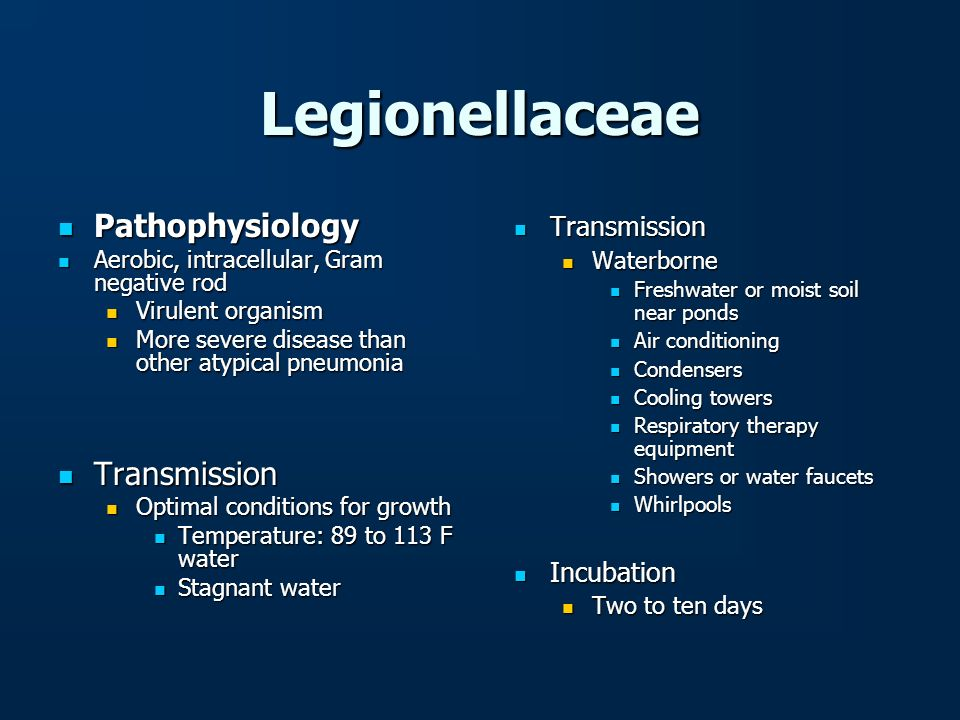 Legionellaceae Pathophysiology Transmission Transmission Incubation