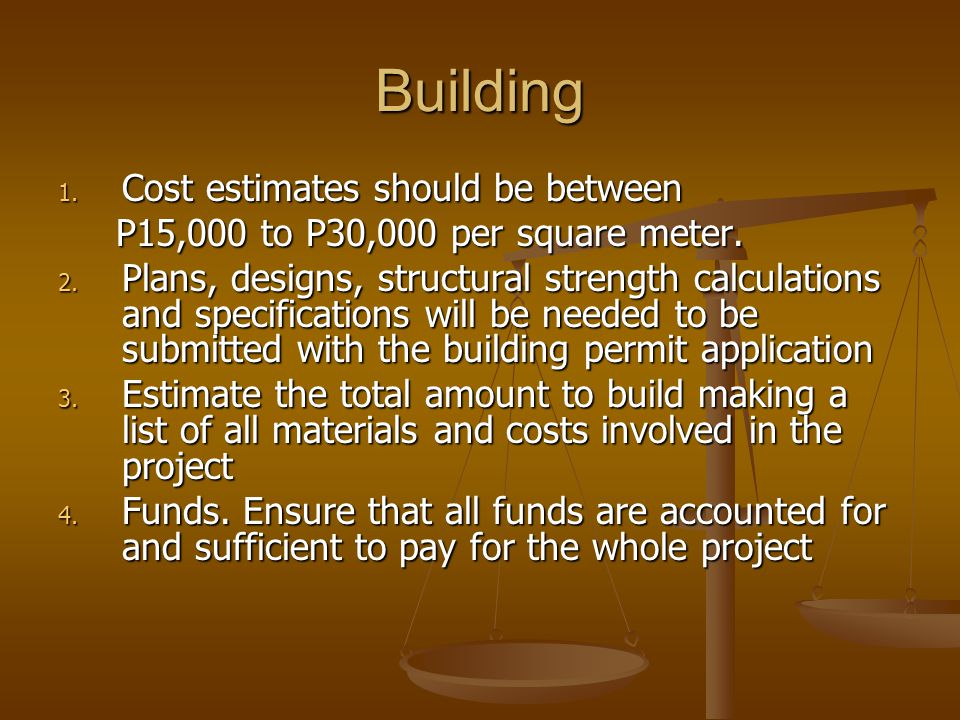 Building Cost estimates should be between