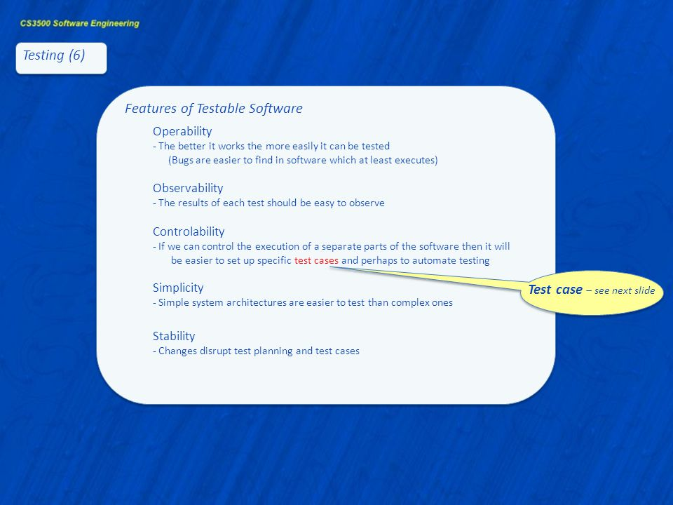 Features of Testable Software