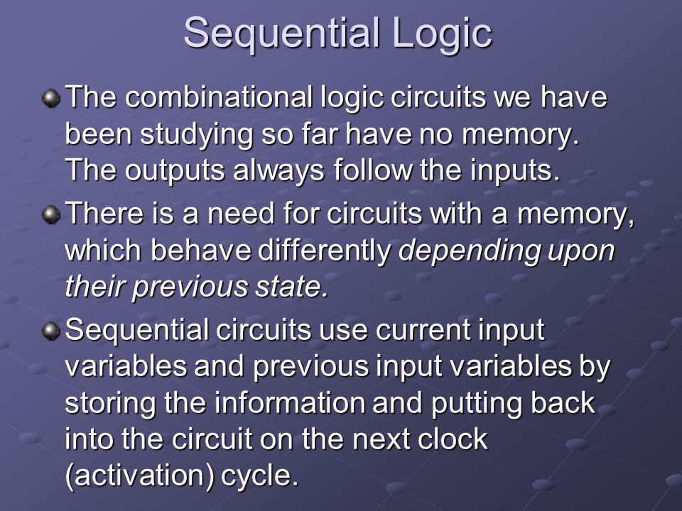 Sequential Logic The combinational logic circuits we have been studying so far have no memory. The outputs always follow the inputs.