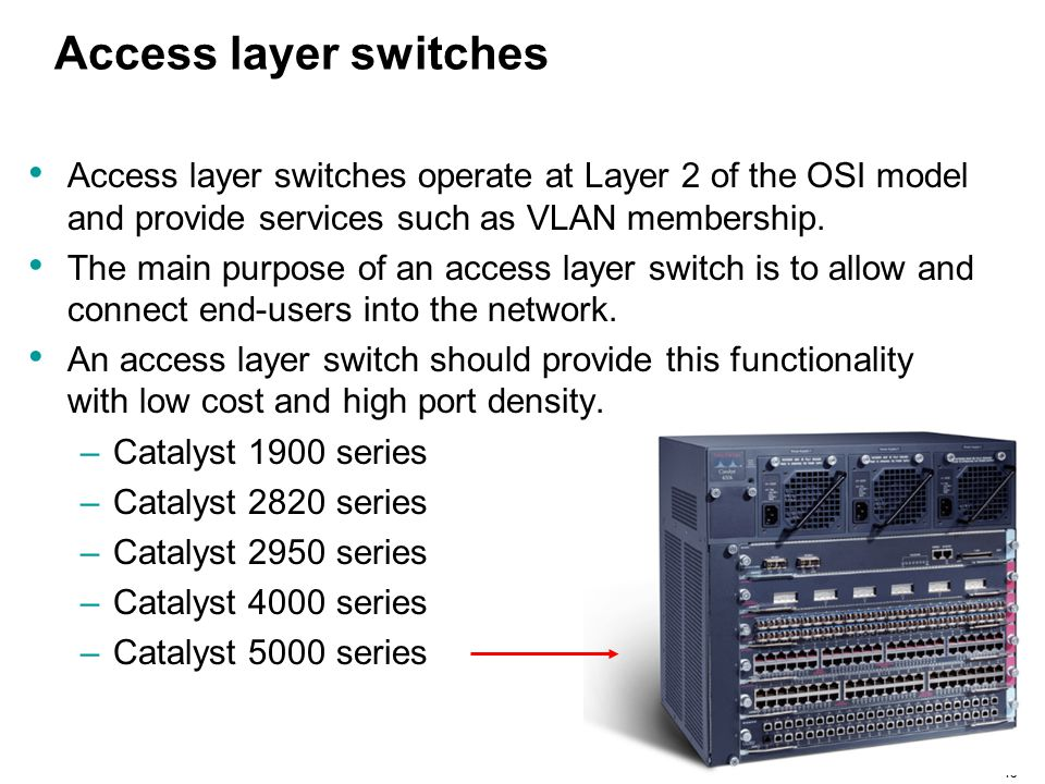 Access layer switches Access layer switches operate at Layer 2 of the OSI model and provide services such as VLAN membership.