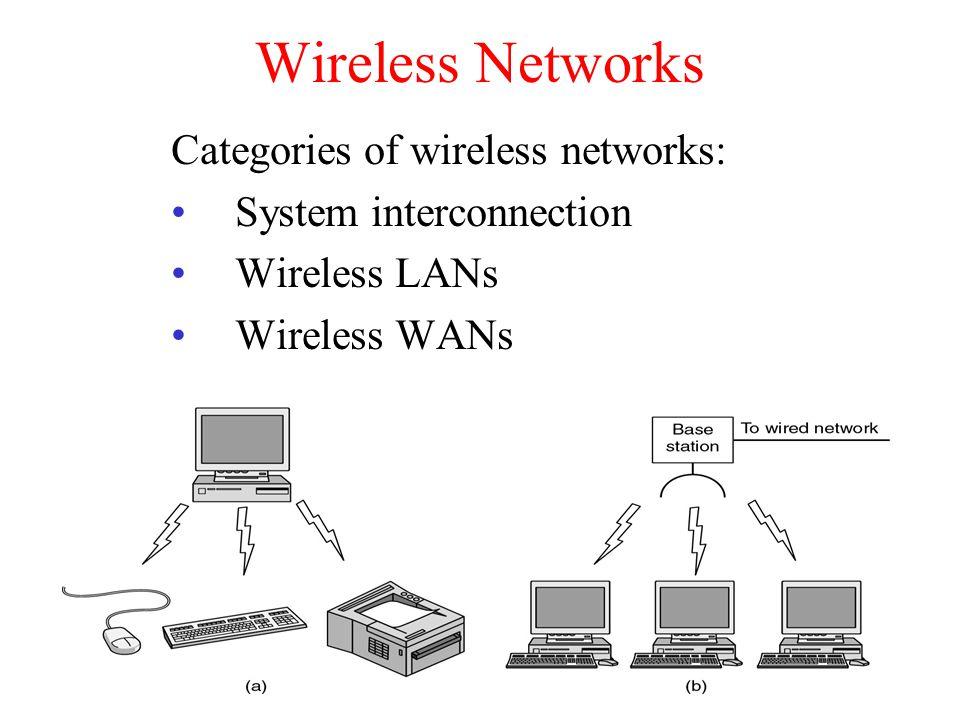Wireless Networks Categories of wireless networks:
