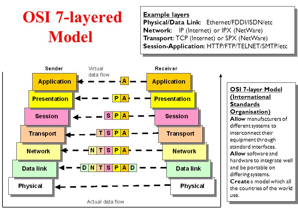 OSI 7-layered Model Example layers