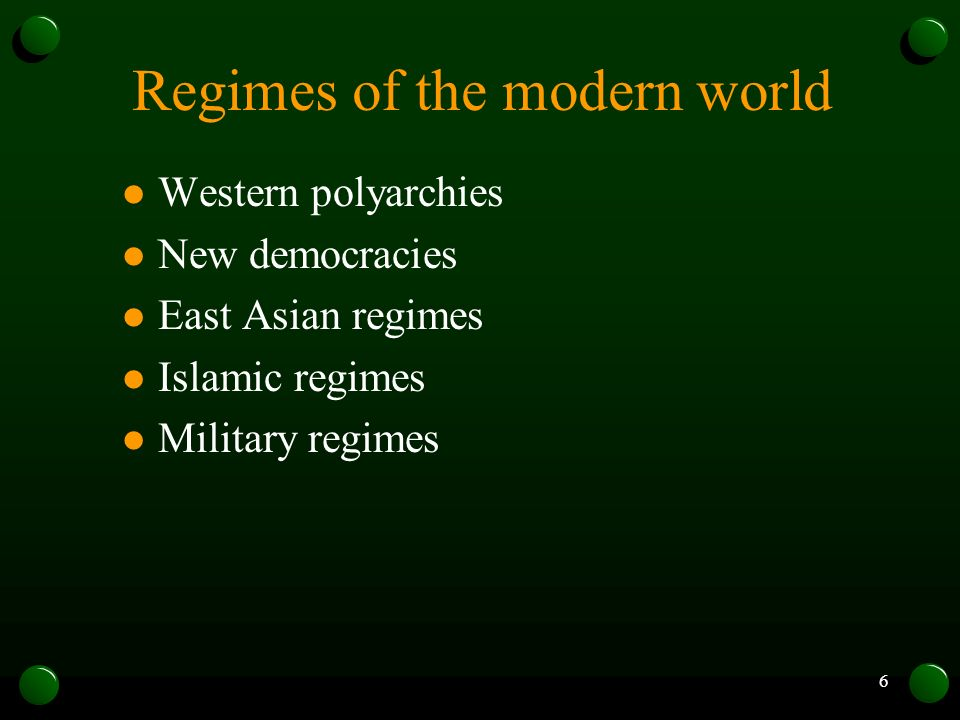 Regimes of the modern world