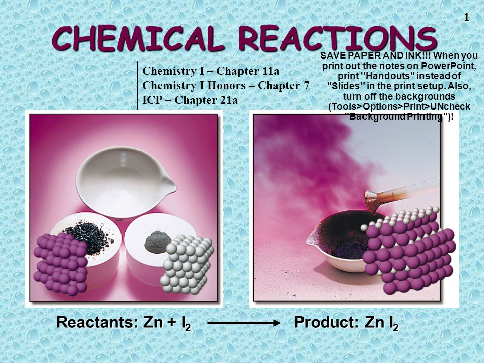 CHEMICAL REACTIONS Reactants: Zn + I2 Product: Zn I2