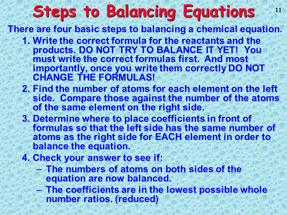 Steps to Balancing Equations