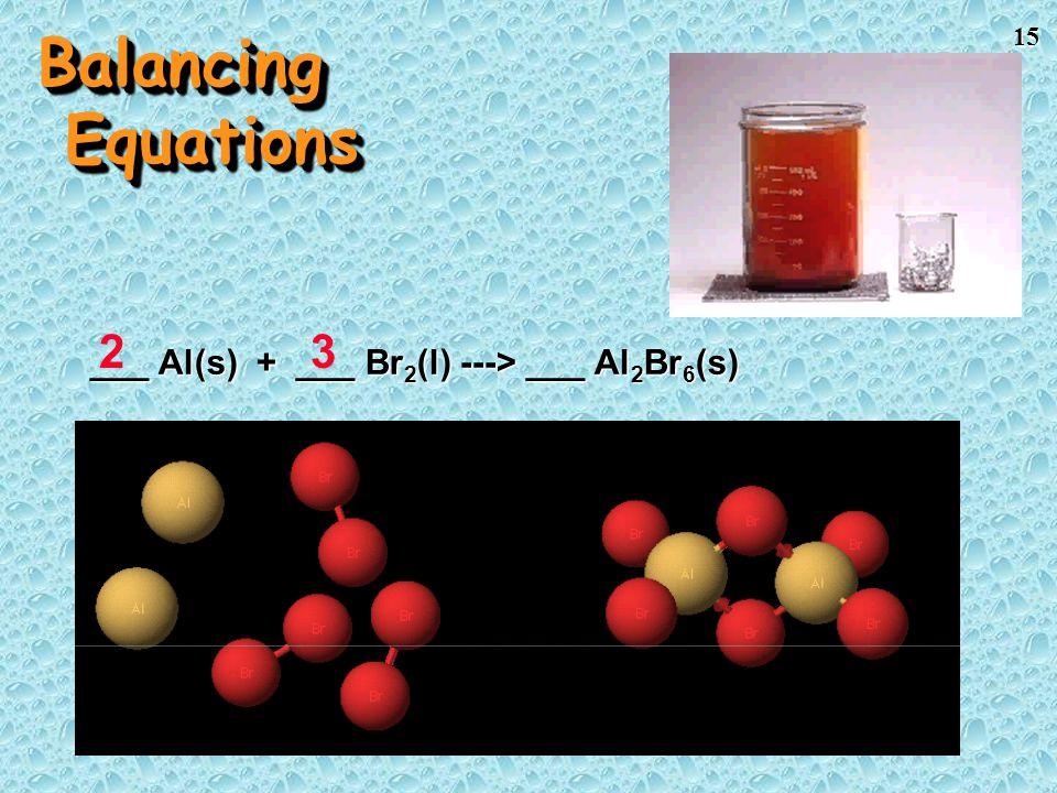 Balancing Equations 2 3 ___ Al(s) + ___ Br2(l) ---> ___ Al2Br6(s)