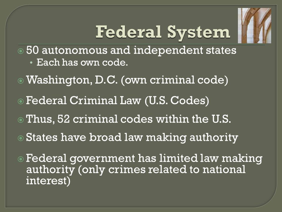 Federal System 50 autonomous and independent states